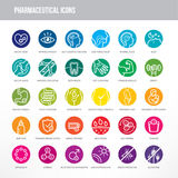 Pharmaceutical and medical icons set Stock Photo