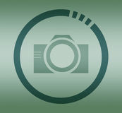 Photo camera symbol in circle Stock Image