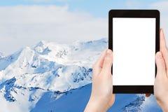 Photo of snow mountains in Paradiski skiing region Royalty Free Stock Photos