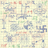Physical formulas, graphics and scientific calculations. Back to School: science lab objects doodle vintage style sketches. Royalty Free Stock Photo