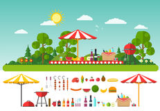 Picnic on nature. Set of elements for outdoor recreation Stock Image