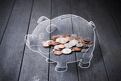 Piggy Bank Money Coins Stock Images