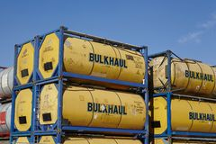 Pile of tank container Royalty Free Stock Images
