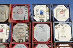 Pile of tank container Stock Photography