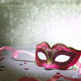 Pink carnival mask Stock Images