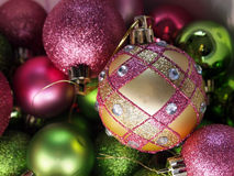 Pink And Green Christmas Ornaments Royalty Free Stock Photos