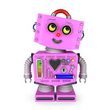 Pink toy robot girl looking up to the right Stock Images