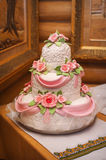 Pink and White Wedding Cake with Roses Royalty Free Stock Photography