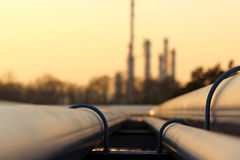 Pipe line transportation in crude oil refinery Stock Image