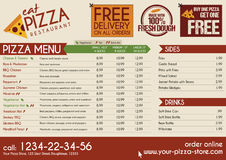 Pizza Restaurant Take away menu Stock Photo