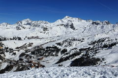 Plagne Centre, Winter landscape in the ski resort of La Plagne, France Stock Images
