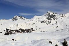 Plagne Villages, Winter landscape in the ski resort of La Plagne, France Stock Image