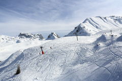 Plagne Villages, Winter landscape in the ski resort of La Plagne, France Stock Photos