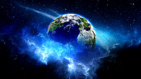 Planet Earth in universe or space, Earth and galaxy in a nebula clouds Stock Photography