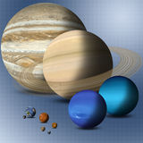 Planets Of Solar System Full Size Comparison Stock Images