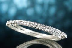 Platinum Diamond Bangles Stock Image