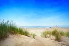 Playa tranquila con las dunas y la hierba verde Océano tranquilo Imagen de archivo