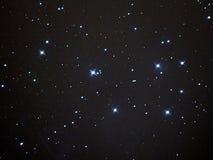 Stars in night sky, Pleiades cluster M45 in taurus constellation Stock Image