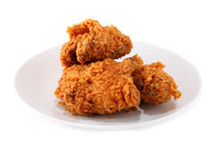 Plenty fried chicken on white plate Stock Photos