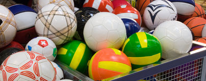 Plenty of volleyballs in the supermarket Royalty Free Stock Images