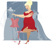 Plus size lady looking for evening dress Royalty Free Stock Photo