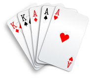 Poker Hand Full House Aces and Kings playing cards Stock Image