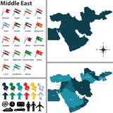 Political map of Middle East Stock Images