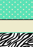 Polka dots and zebra pattern invitation card Royalty Free Stock Photos