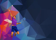 Polygonal professional badminton player on Stock Images