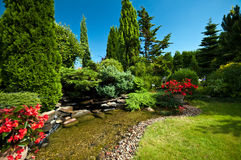 Pond in landscaped garden Royalty Free Stock Photos