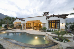 Pool And Modern Home Exterior Stock Images