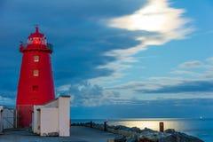 Poolbeg lighthouse at night. Dublin. Ireland Stock Images