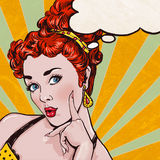 Pop Art illustration of woman with the speech bubble.Pop Art girl.Birthday greeting card. Royalty Free Stock Photo