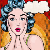 Pop Art illustration of woman with the speech bubble.Pop Art girl.Birthday greeting card. Royalty Free Stock Photos