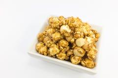 Popcorn with macadamia caramel flavour. Stock Image