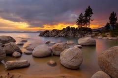 Por do sol 1 de Tahoe Fotografia de Stock