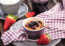 Portion of cottage cheese casserole and cup of coffee Royalty Free Stock Photography