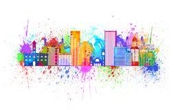 Portland Oregon Skyline Splatter Color Illustration Royalty Free Stock Photography