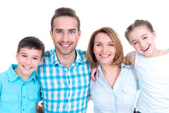 Portrait of the happy european family with children Royalty Free Stock Photo
