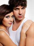 Portrait of a two sensuality beautiful lovers Stock Image