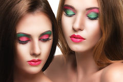 Portrait of two sensuality young beautiful girls Stock Image