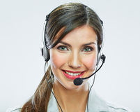 Portrait of woman customer service worker, call center smiling Stock Photo