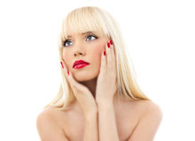 Portrait of young beautiful woman with red lips Royalty Free Stock Photo