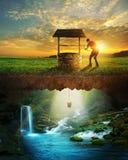 Pozo y agua Fotografía de archivo