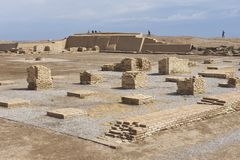 Ppeople explore ruins of Otrar in Shymkent, Kazakhstan. Royalty Free Stock Photography