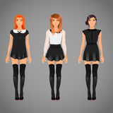 Pretty females in black and white collar dresses Stock Images