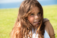 Pretty teen girl outdoors Stock Image