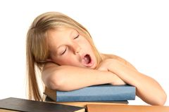 Pretty Tired Kid and Books Royalty Free Stock Image