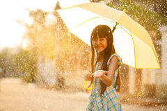 Pretty young asian girl in the rain Royalty Free Stock Image