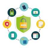 Privatleben- und Sicherheitssystemgraphikikonen Lizenzfreie Stockbilder